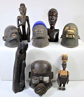 Collection of (8) Makonde Helmet Masks and Figures