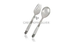 Georg Jensen Acanthus All-Silver Salad Set 131