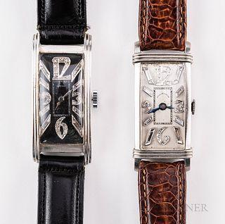 Two Platinum and Diamond Tank-style Wristwatches