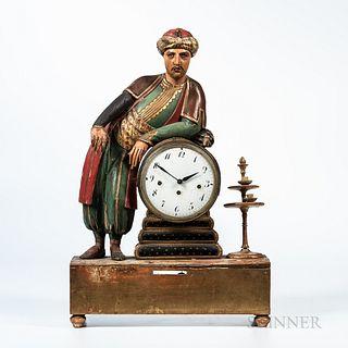 Polychrome Painted Arabian Figural Grand Sonnerie Shelf Clock