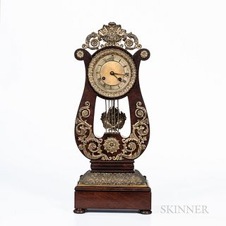 Laguesse & Co. Mahogany and Ormolu-mounted Lyre Clock
