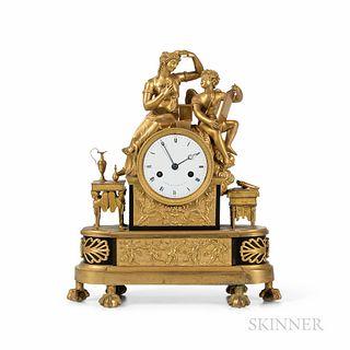 Fire Gilt Figural Clock