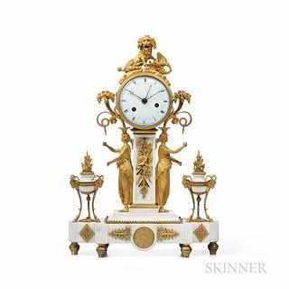 Marble and Ormolu-mounted Figural Clock