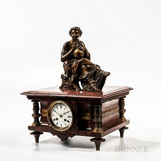 LeRoy Variegated Red Marble Statuary Clock