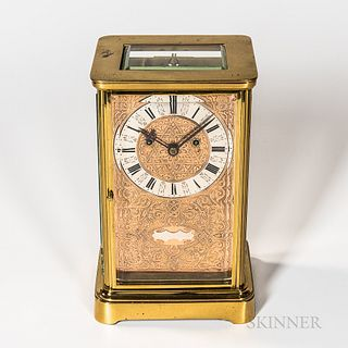 Glass and Brass Chain Fusee Quarter-hour Striking Mantel Clock