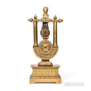 Ormolu-mounted Fire-gilt Mantel Clock