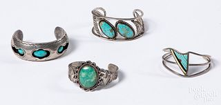 Four Native American Indian turquoise bracelet