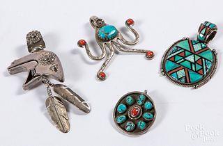 Four Native American Indian pendants