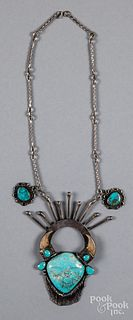 Navajo Indian silver & turquoise buffalo necklace