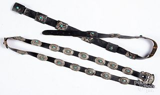Two Navajo Indian silver and turquoise concha bel