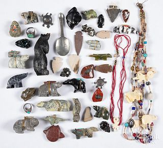 Native American Indian carvings and Zuni fetishes