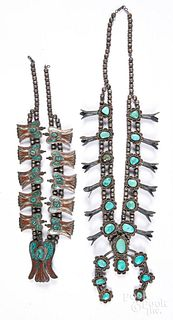 Two Navajo Indian silver and turquoise necklaces