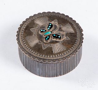 Good Zuni Indian sterling silver lidded box