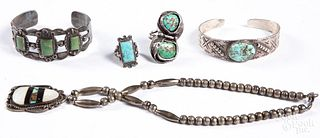 Five pieces of southwestern Indian jewelry