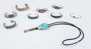 Nine pieces of southwestern Indian jewelry