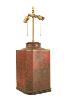 English Victorian Chinoiserie Red Tole Table Lamp