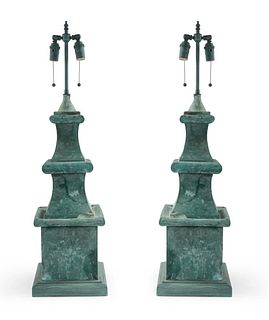 Pair of American Victorian Green Tole Table Lamps