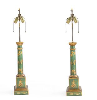 Pair of French Directoire Style Tole Column Table Lamps