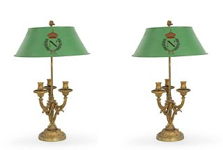 Pair of French Victorian Gilt Bronze and Tole Table Lamps