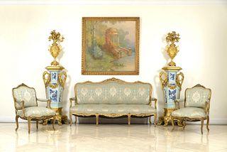4 French Louis XV Green Damask Living Room Set