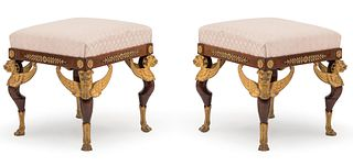 6 French Empire Sphinx Mahogany Bench (Priced Each)