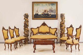 6 Italian Venetian Gold Living Room Set