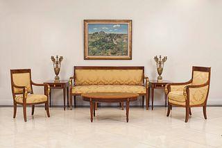 7 French Empire Gold Upholstered Living Room Set