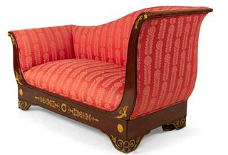 French Empire Red Damask Recamier