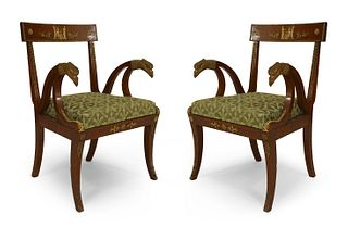Pair of French Empire Green Arm Chairs