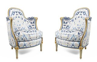 Pair of French Louis XV Bergére Arm Chairs