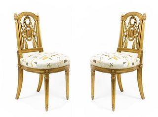 Pair of French Louis XVI Gilt Side Chairs