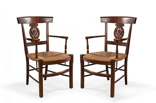 Pair of French Provincial Fruitwood Arm Chairs