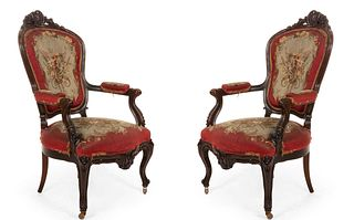 Pair of French Victorian Red Floral Arm Chairs