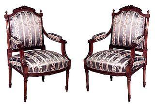 Pair of Louis XVI Blue Striped Arm Chairs