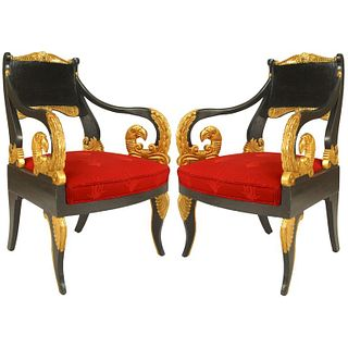 Pair of Russian Neoclassic Painted Arm Chairs