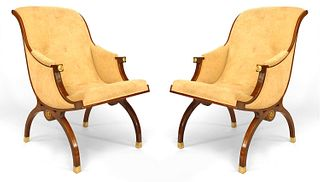 Pair of Russian Neoclassic Sleigh Back Arm Chairs
