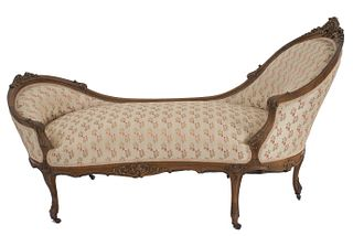 French Louis XV Walnut Floral Chaise