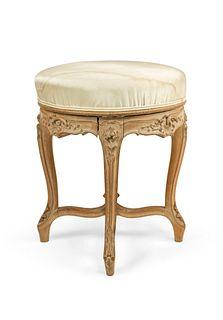 French Louis XV White Satin Bench