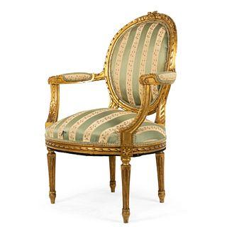 French Louis XVI Gilt Arm Chair