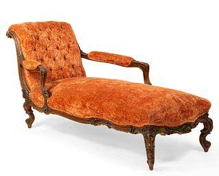 French Victorian Rust Velvet Recamier