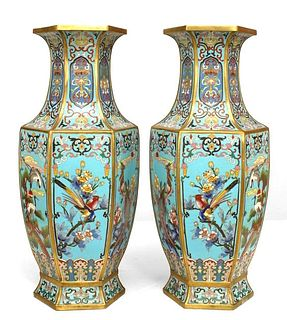 Pair of French Victorian Chinoiserie Blue Enamel and Cloisonne Vases