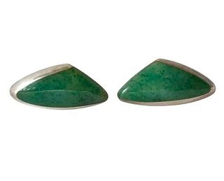 Enrique Ledesma Chrysoprase Agate Sterling Silver Mexican Modernist Cufflinks