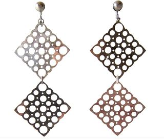 Lisa Vitali Sterling Silver Finnish Modernist Pitsi Dangling Earrings