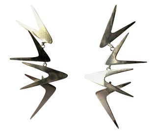Ruth Berridge Sterling Silver Dangling Boomerang Modernist Mobile Earrings