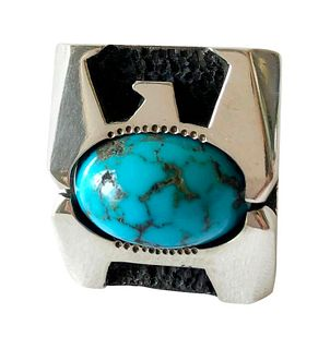 Raymond Graves Sterling Silver Turquoise Thunderbird Ring