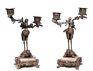 Pair of English Regency Bronze Heron Candelabras