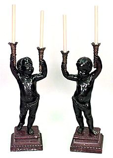Pair of French Louis XVI Style Cupid Candelabras with Marble Bases