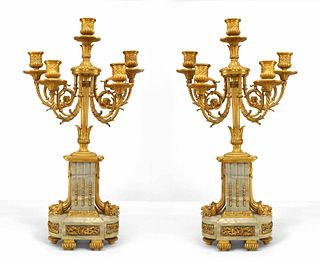 Pair of French Louis XVI Style Gilt Bronze and Marble Candelabras