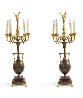 Pair of French Louis XVI Style Ormolu and Bronze Figural Candelabras