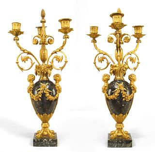 Pair of French Victorian Marble and Gilt Bronze Candelabras